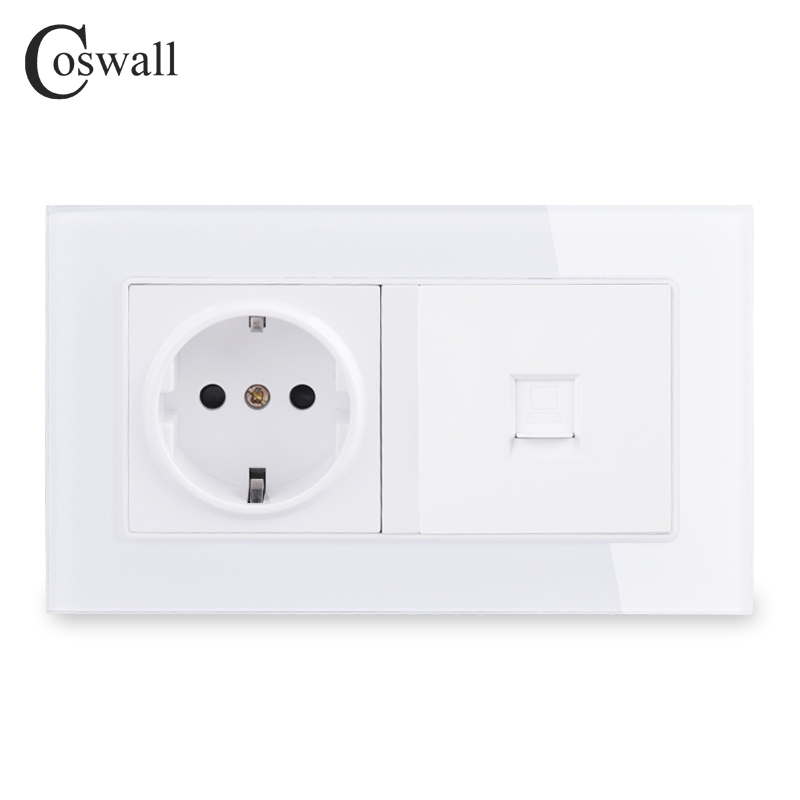 COSWALL 16A Russia Spain EU Standard Socket Grounded + 1 Gang RJ45 CAT5E Internet Computer Data Connector Tempered Glass Panel