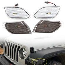 Rotuladores laterales y delanteros para coche, luces LED ámbar para Jeep wrangler JL 2018 2019 2020, carcasa transparente