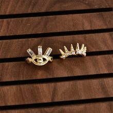 Gold Color Rings Set Crystal Eye Crown Shape Rings Set for Women Girl Metal Hollow Geometric Ring Set Party Jewelry