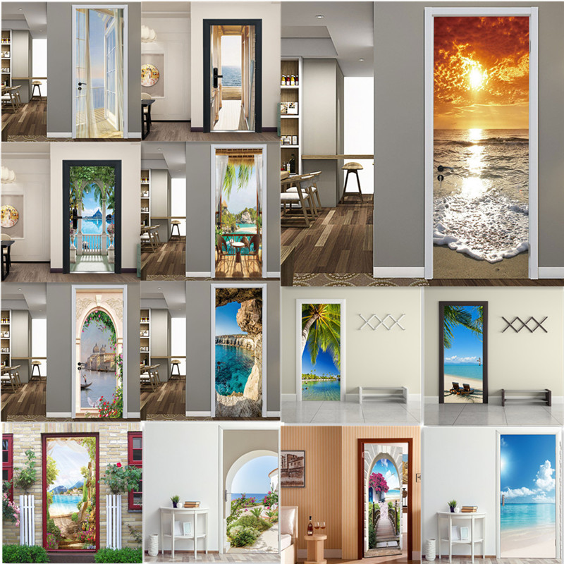 Seaside Scenery 3D PVC Self-adhesive Door Sticker Sea Beach Mural Poster Home Decoration Decal Porch Natural Landscape Wallpaper