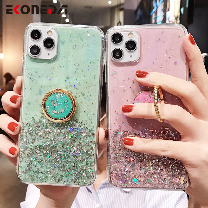 EKONEDA Glitter Ring Case For iPhone XR Case For iPhone X 11 Pro XS Max 7 8 6 6S Plus Luxury Silicone Holder Back Cover Shell