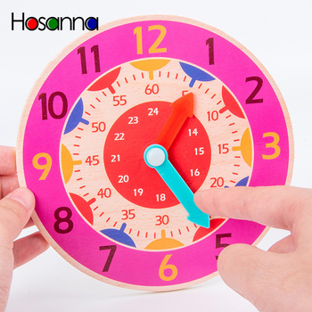 Primary School Wooden Clock Model Children's Clock Math Teaching Aid Students Cognitive Time Hour Montessori Materials For Kids image