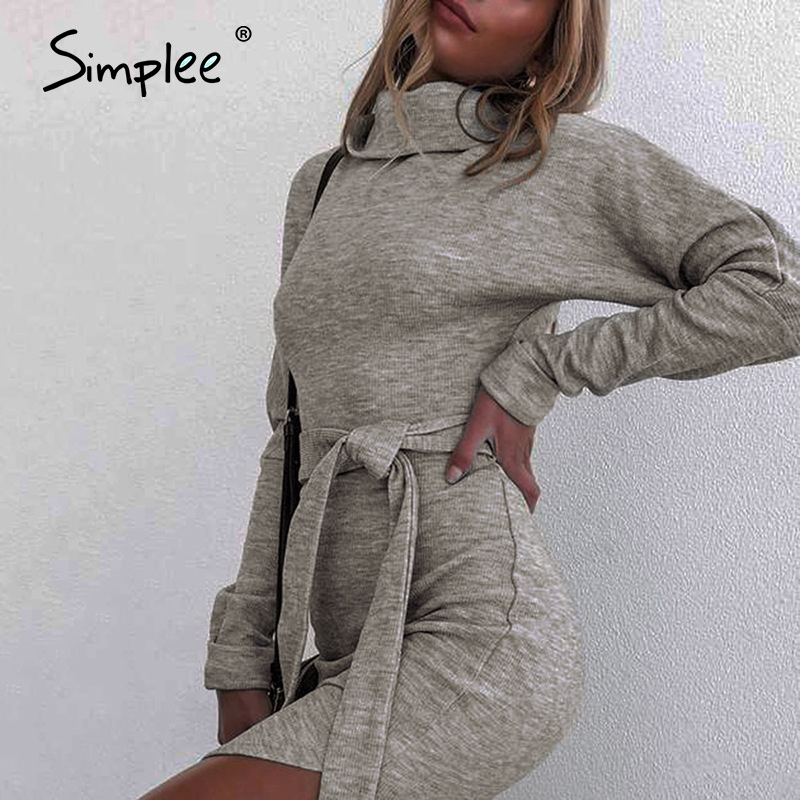 Simplee Sexy high collar women's dress Lace up grey slim winter dress With belt Nightclub tight dress Warm comfortable dress