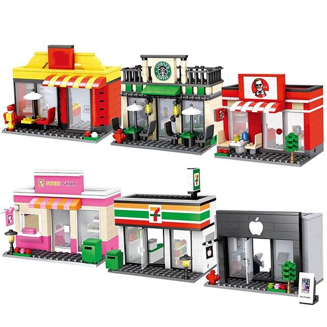 Город, мини-улица, розничная продажа, здания, архитектурные блоки, дорожный угол, 3D модель, кафе Leduo, бренд, город, игрушка