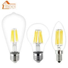 Lámpara LED Edison bombilla E27 E14 220V 240V LED filamento lámpara de luz 2W 4W 6W 8W retro antigüedad vintage vela de cristal