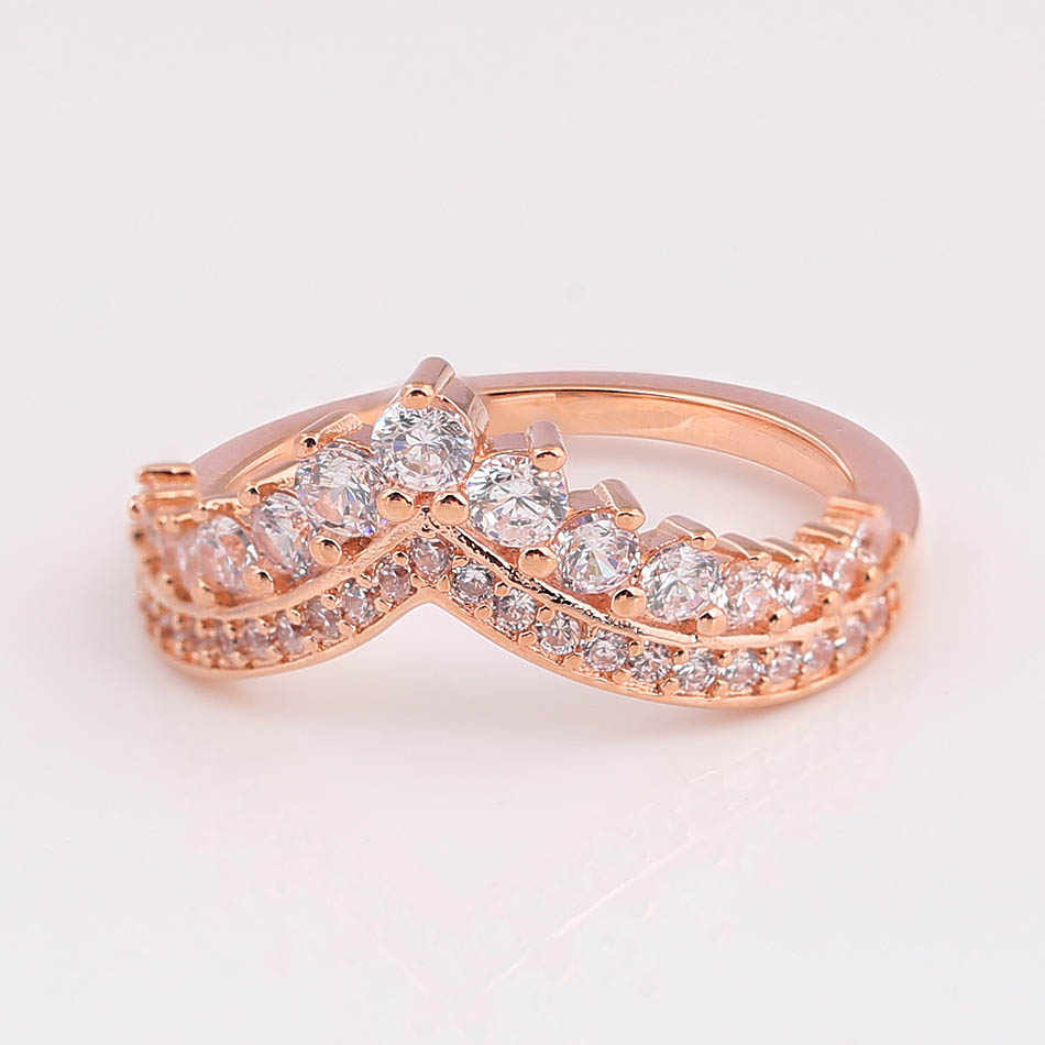 Authentieke 925 Sterling Zilveren Ring Rose Prinses Wishbone Ring Met Crystal Voor Vrouwen Wedding Party Gift Fijne Europa Sieraden