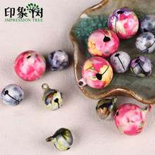 1pcs Color Printing Copper Sounding Bell 14/20mm Hanging Festival Party Christmas Decoration Pendants DIY jewelry 518(China)
