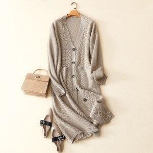 100% чистый кашемир кардиган с пуговицами длинное женское трикотажное зимнее пальто