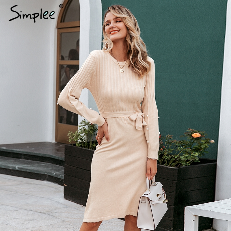 Simplee Elegant Sash Belt Women Sweater Dress O-neck Pearl Lantern Sleeve Female Knitted Dress Autumn Winter Jumper Pink Dress