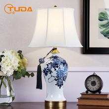 Nowy chiński styl luksusowe ceramiczne stołowe lampa do sypialni salon lampka nocna do pokoju biurko szkolne lampa willa klub dekoracji ue wtyczka tanie tanio TUDA CN (pochodzenie) Foyer Niebieski Dół 110 v 220 v 90-260 v Pokrętło przełącznika Żarówki led Brak Galwanicznie
