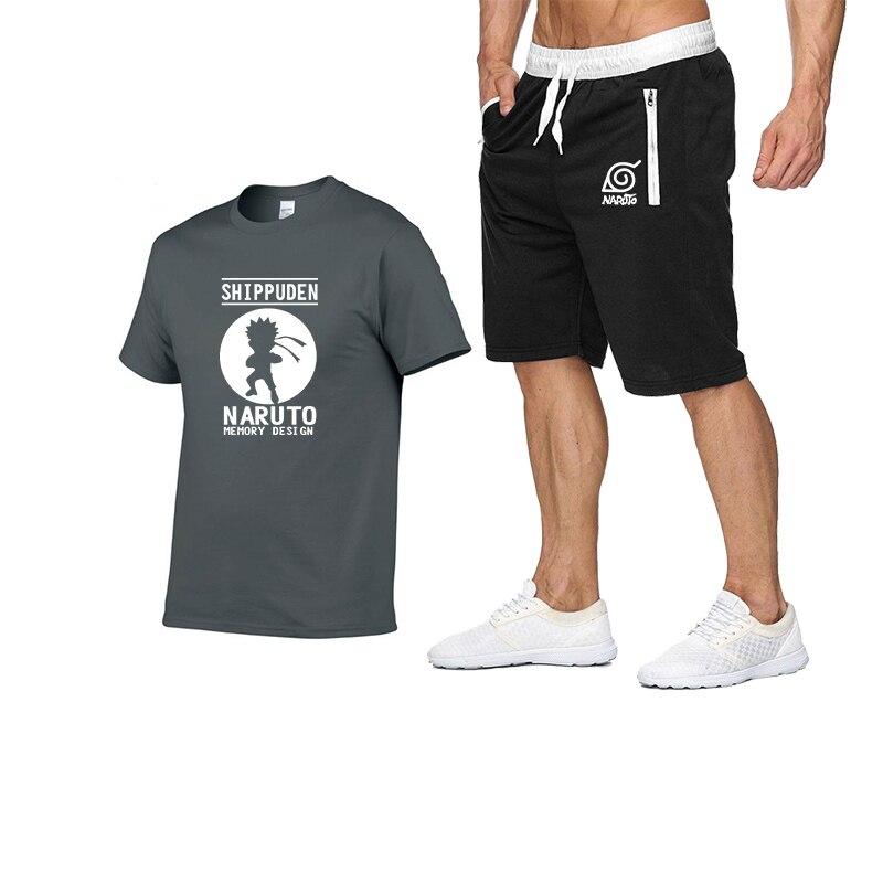 2020 Brand Cotton Summer Sport Men T-shirt Piece Men's Fashion&casual O-Neck Print Set Shorts Graphic T Shirts And Pants&short