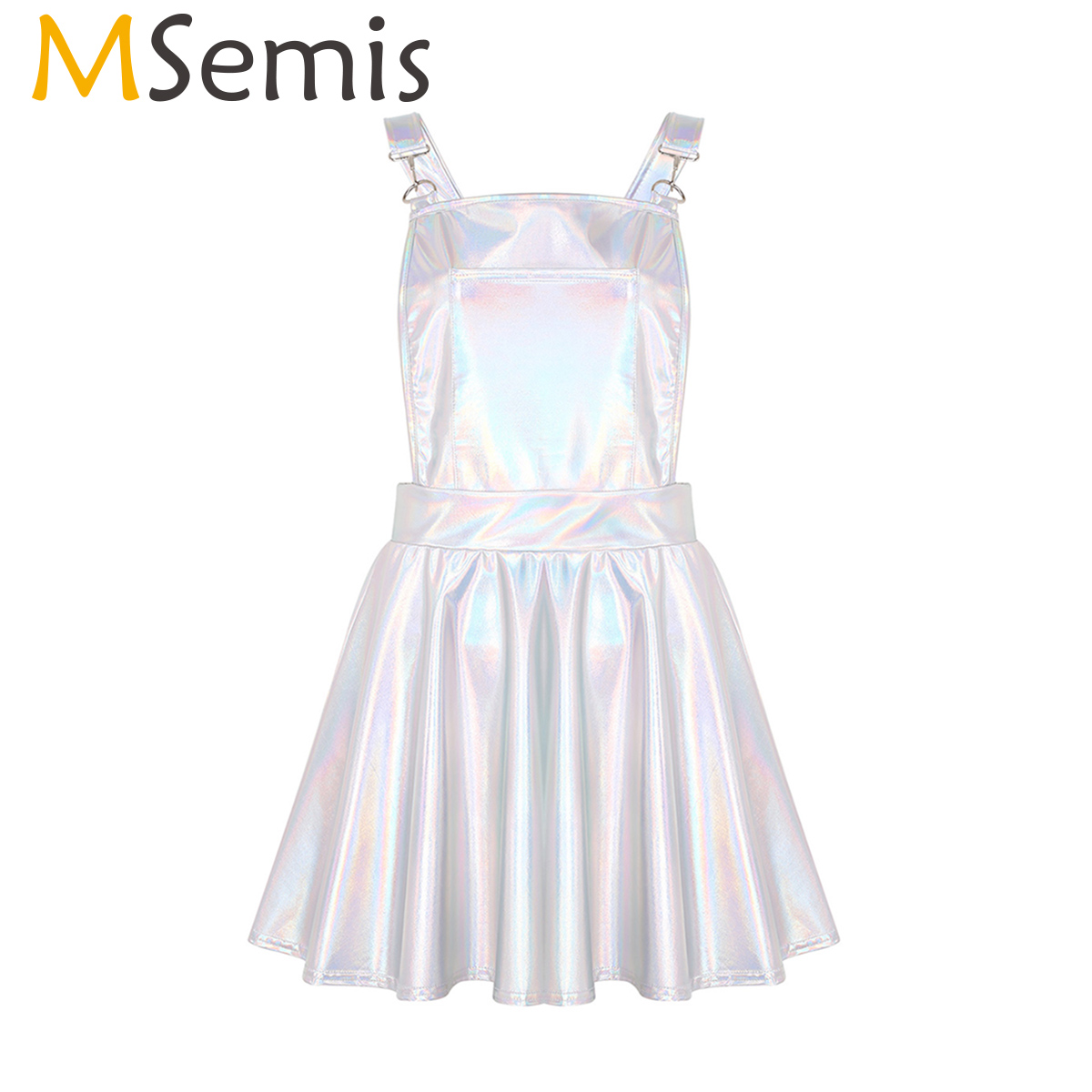 MSemis Women Shiny Metallic Holographic Clothes Festival Rave Holographic Clothing Suspender Skirt Pole Dance Wear Prom Costume