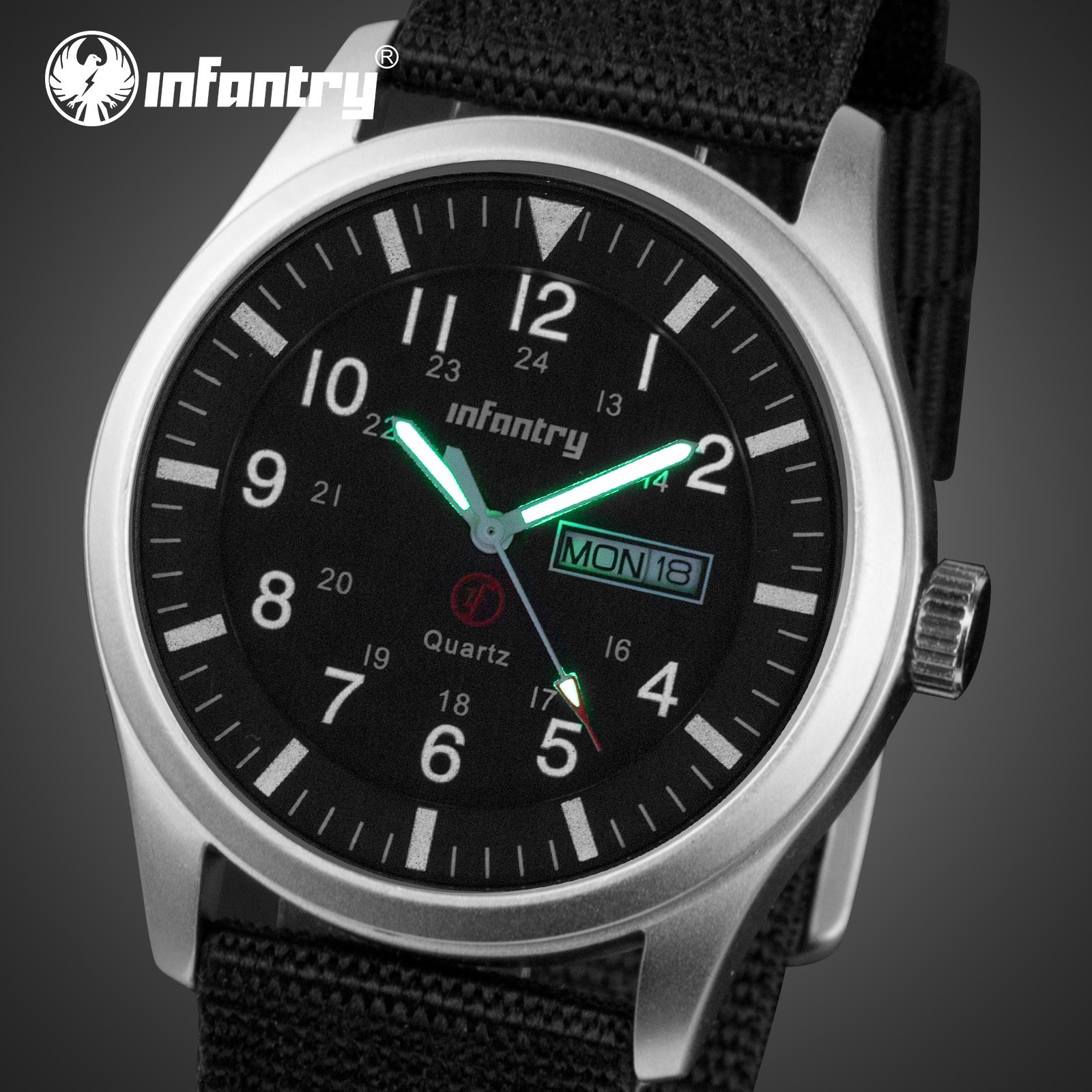 INFANTRY Mens Watches Top Brand Luxury Military Watch Men Date Waterproof Black Nylon Sport Watches For Men Relogio Masculino
