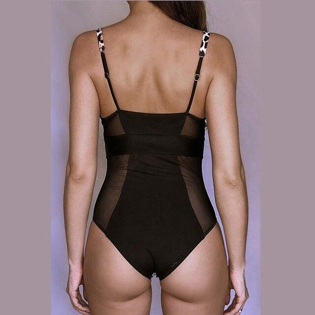 Leopard Swimsuit Black One Piece Swimwear 4