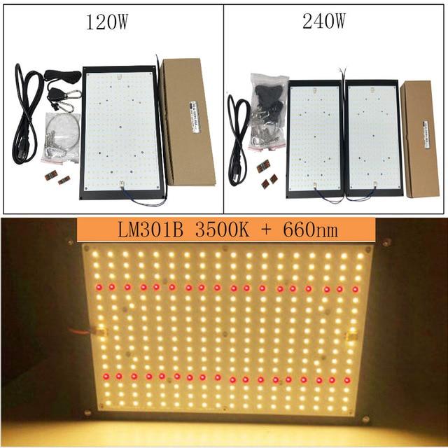 5pcs alta qualidade 120W 240W Placa Quantum Full Spectrum Cresce A Luz Led Samsung LM301B SK 3000K 3500K 4000K 660nm DIY