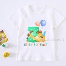 2021 meninos dinossauro 1-9 aniversário número imprimir t camisa crianças aniversário menino dino festa t-shirts menino & menina engraçado presente tshirt presente