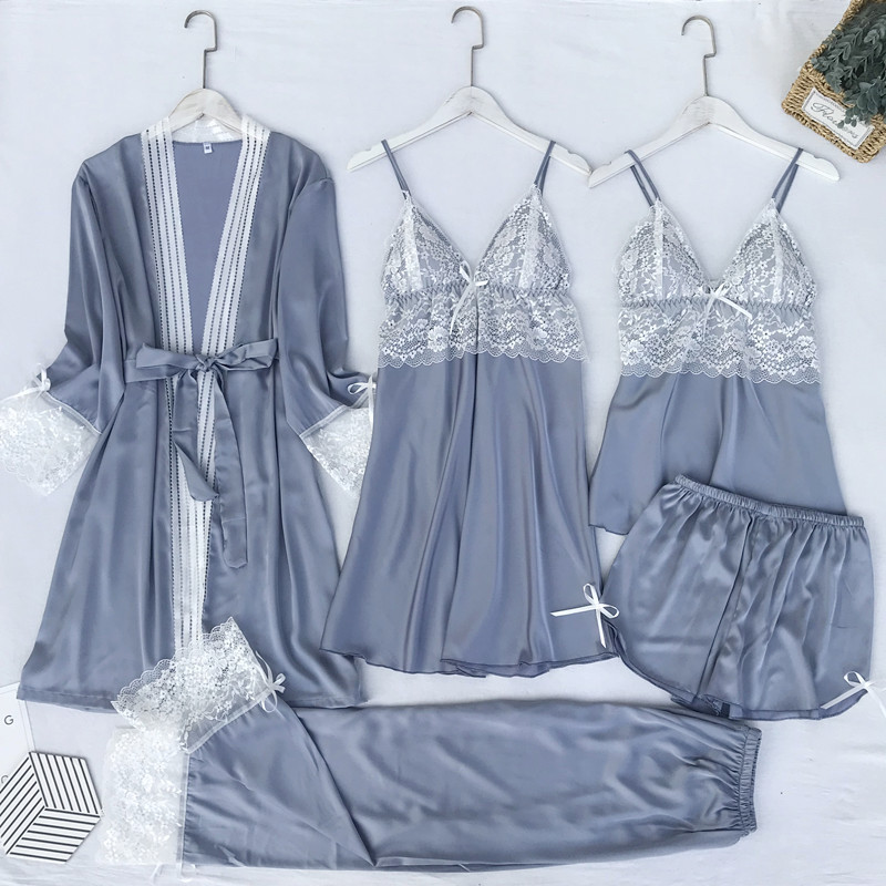 Gray Nightgown Set Women 5PCS Lace Nightwear V-Neck Flower Pajamas Suit Homewear Spring Lady Sleepwear Robe Gown Lounge Negligee
