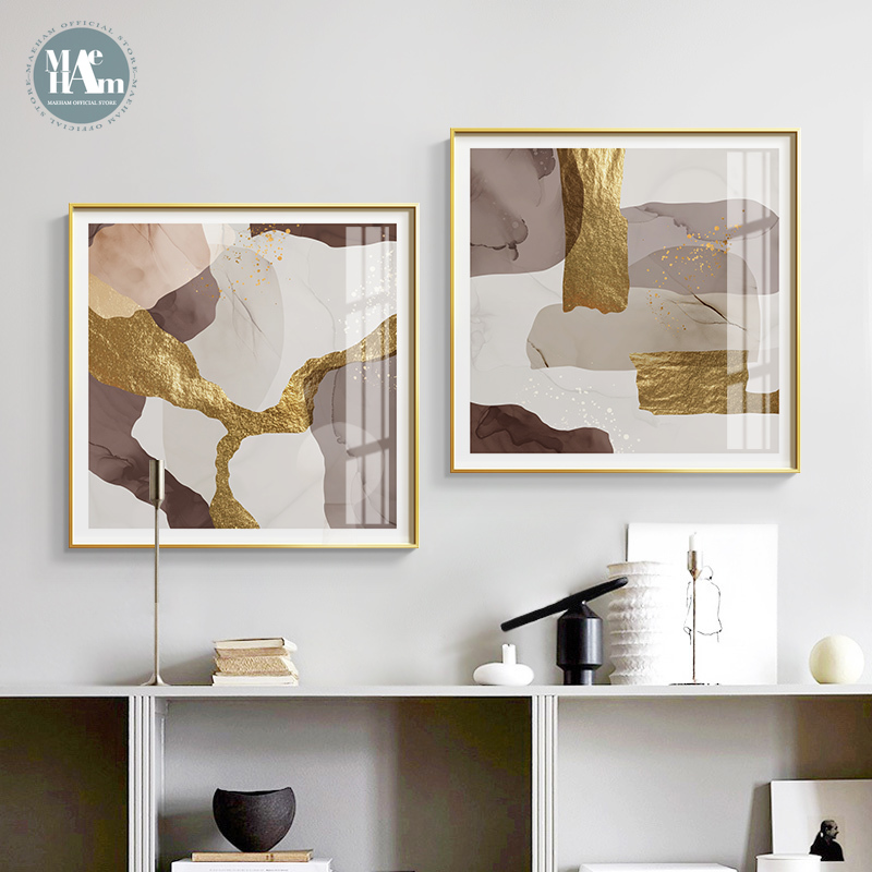 Abstract Marble Canvas Print Paintings Brown Gold Foil Poster Nordic Wall Art Pictures On Canvas Living Room Office Home Decor