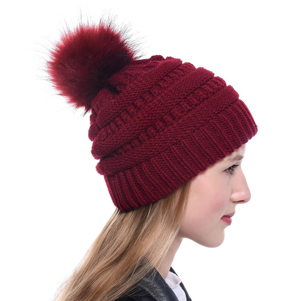 Winter Wool Blends Soft Warm Knitted Beanie Cap New Women Keep Warm Winter Hairball Knitted Hat Wool Hemming Hat Ski Hat #YL5