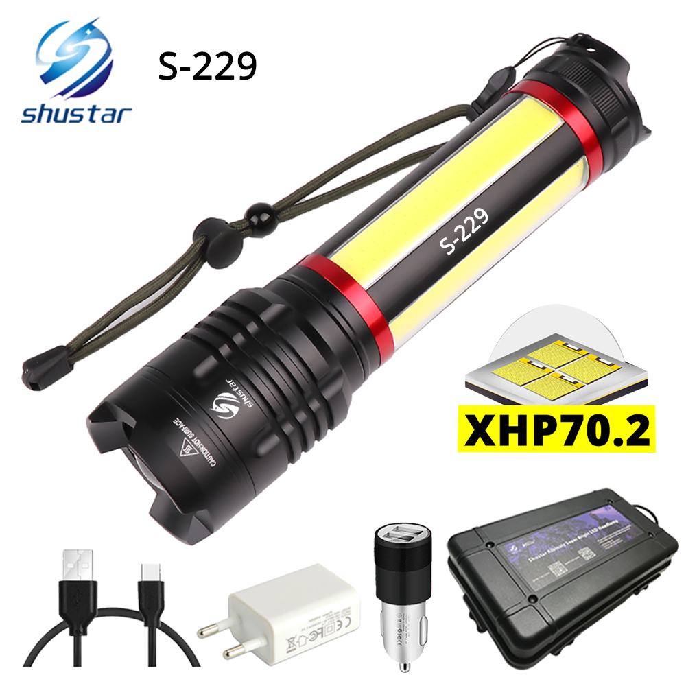 Multifunction LED Flashlight Built-in 5000mAh lithium battery With XHP70.2 + COB LED Super bright waterproof Camping light