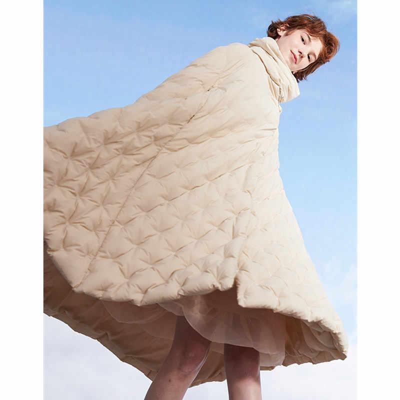 Fräulein FoFo 2019 Neue Mode Frauen Winter Ente Unten Jacke A-Line Mantel Mantel Higt Qualität Kühle Größe S-L