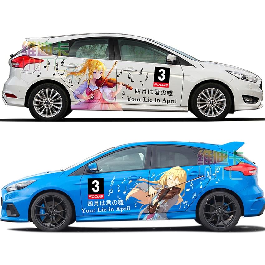 Japan Anime Vinyl Car Sticker Your Lie In April Miyazono Cartoon Door Decals Ralliart Rally Stickers On Car Vehicle Accessories
