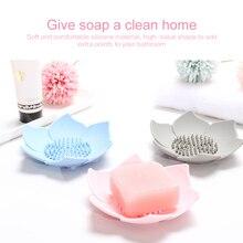 1Pcs Creative Soap Box Soap Drain Tray Lotus Flower Flexible Silicone Plates Shower Bath Storage Soap Dish Soap Holder Dropship