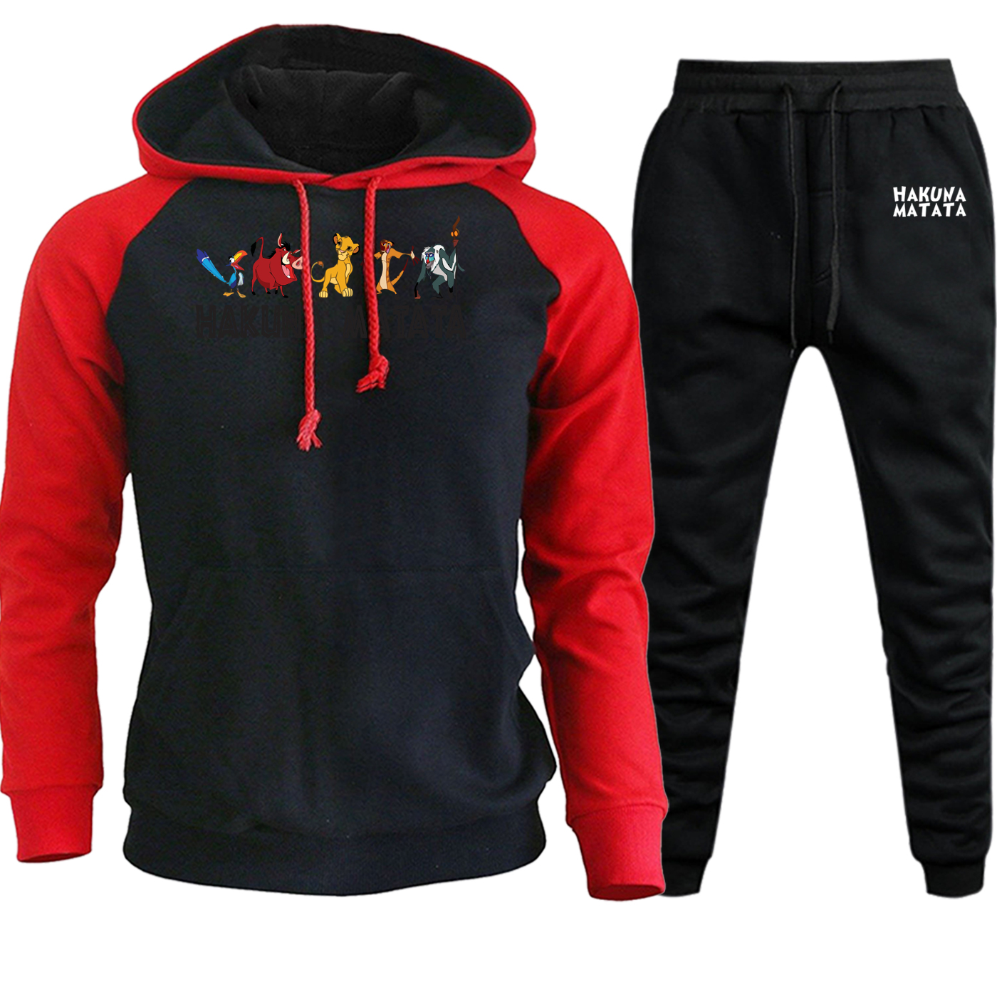 The Lion King Streetwear Funny Simba Raglan Men Hoodies Suit New Autumn Winter Pullover+Pants Sets Male Hip Hop Cartoon Hooded