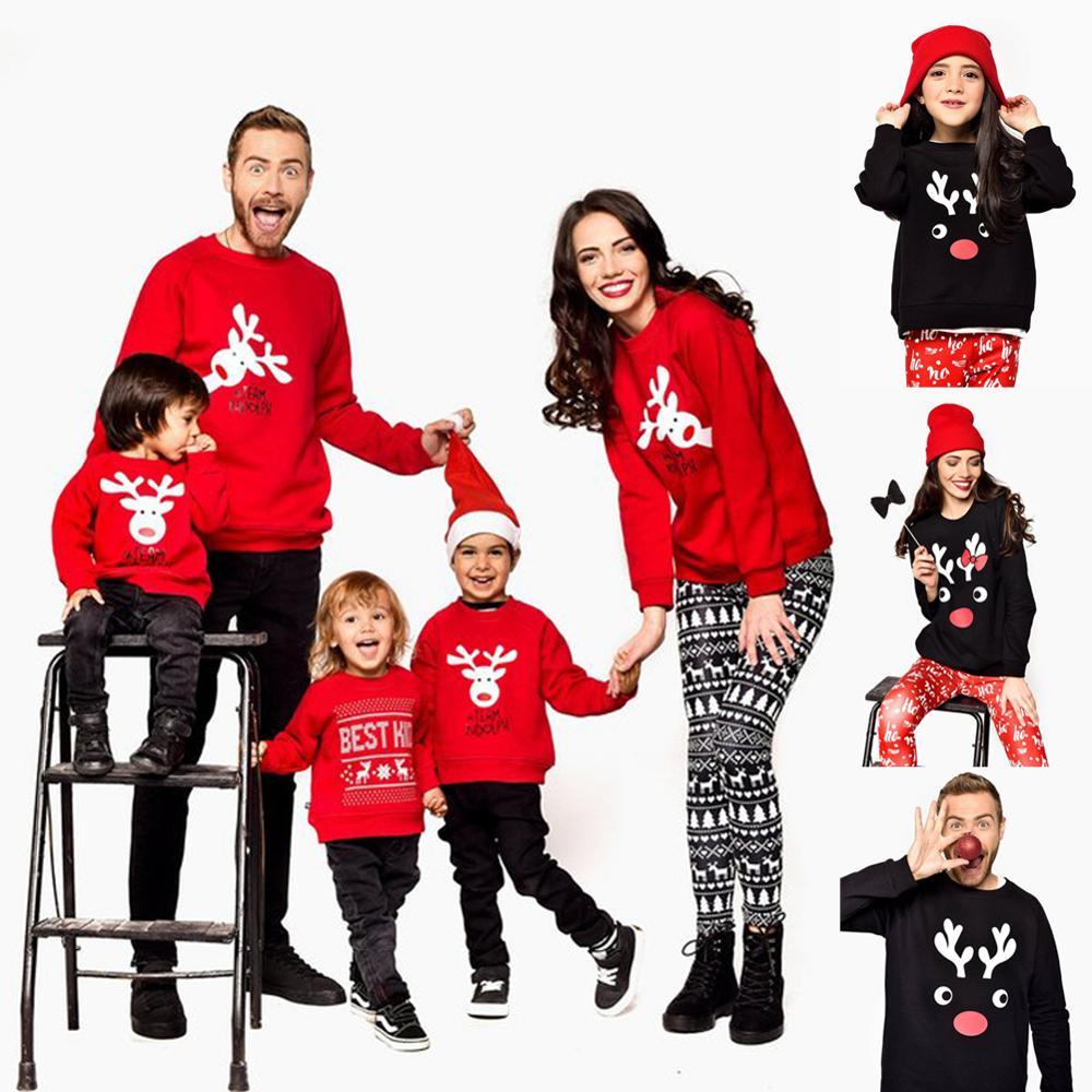 Nouveaux enfants vêtements noël rayures imprimer famille Parent-enfant costume impression pull coton doux deux pièces