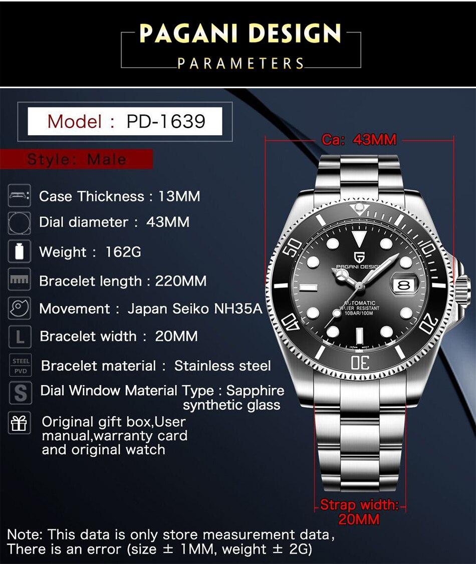 Hbb6b606d141d4997b06e8e3a46b34e45u PAGANI2019 Design Brand Luxury Men Watches Automatic Black Watch Men Stainless Steel Waterproof Business Sport Mechanical