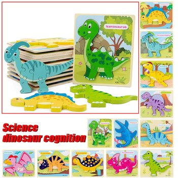 wooden baby toys puzzle Children cute animal Dinosaur puzzle Desktop Assembled educational Toy Three-dimensional Puzzle for kids non toxic wooden animal jigsaw puzzle 3d dinosaur diy assembled toy children educational toys birthday gift