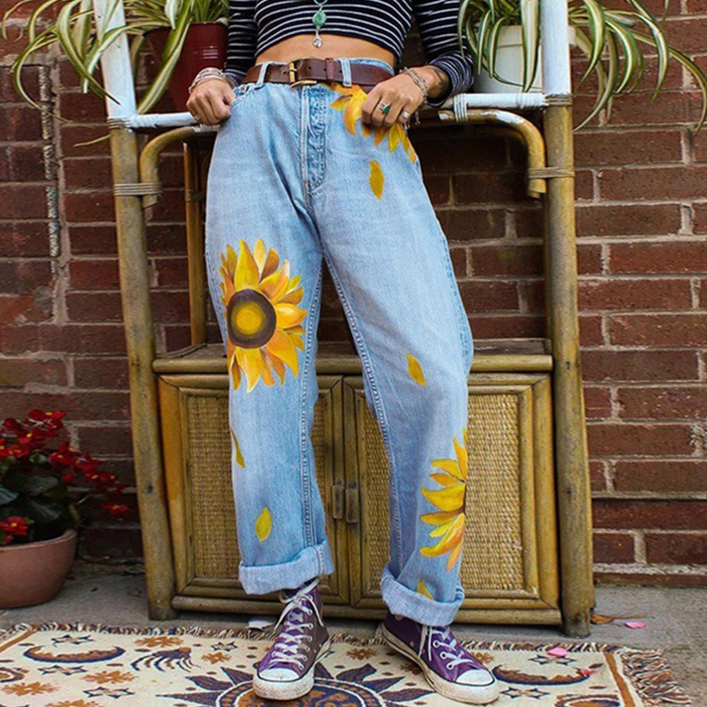 Vintage Women Loose Jeans 2019 Sunflower Print Denim Pants Retro Girls Straight Boyfriend Jeans Streetwear Vaqueros Mujer D25