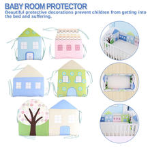 Cartoon Thickness Baby bed Bumper Padded Mesh Crib Bumper House Pattern Anti-crash bedding Ruffle Infant Room Protector Fence(China)