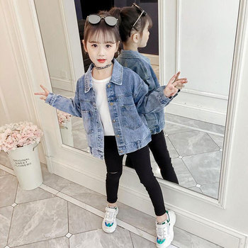 New Denim Jacket for Girls Coat Clothes Baby Outerwear Children Long Sleeved Jacket Kids Girl Clothing Spring Autumn
