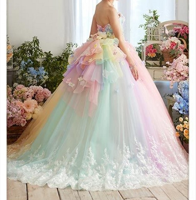 Best Promo 3231 Pretty Colorful Rainbow Tutu Prom Dresses 3d Flower Lace Puffy Ball Gowns Vestido Formatura Abiye Ruffles Evening Gowns Cicig Co