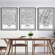 Affiche murale nordique, carte de ville de londres, Paris, londres, londres, New York, New York, Bordeaux, décoration murale