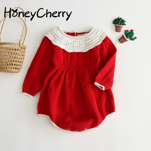 Image 1 - 2009 New Baby Bodysuit Kind Of Infant Knitted Conjoined Suit Female Baby Doll Collar Long Sleeve Pure Cotton Climbing
