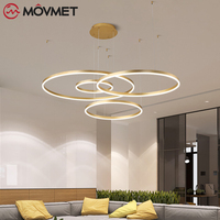Modern Gold Pendant Lights Adjustable LED For Living Room Round Hanging Acrylic Dining Lamp Supension Kitchen Ceiling Lamps