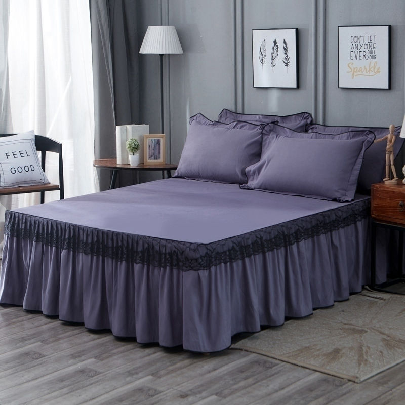 2020 Home High Quality Cotton Polyester Smoked Bedding Bed Skirt 3pcs Queen Size Cover Bedspread Solid Color Bed Decor Bed Cover