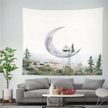 Луна и лес гобелен дом лошадь печатных хиппи полиэстр стены