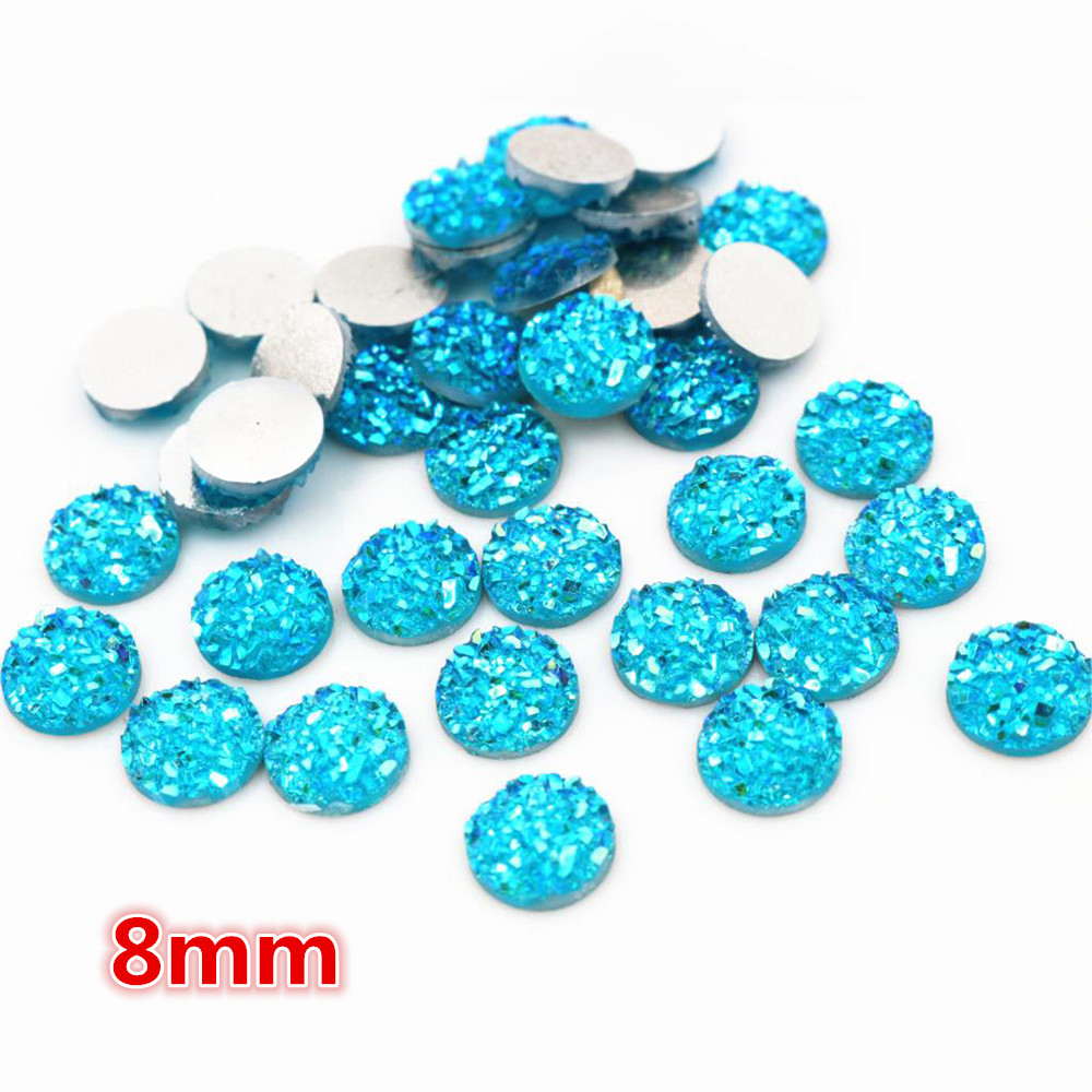 New Fashion 8mm 40pcs Water Blue AB Colors Natural Ore Style Flat Back Resin Cabochons For Bracelet Earrings Accessories-O5-09