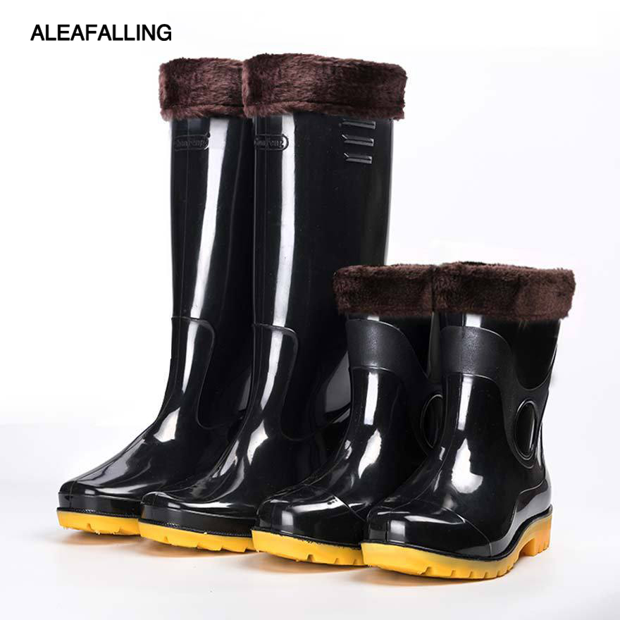 Aleafalling Waterproof Rain Boots Winter Shoes Men Rain Outdoor Water Rubber High Tube Boots Slip On Botas Thicken Or Thin