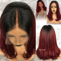 Burgundy Ombre Lace Front Wigs Natural Wave Peruvian Remy Glueless Human Hair Wig with Baby Hair Free Part Two Tone #1B/99J