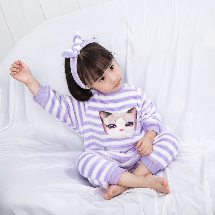 Children Warm One-piece Pajama Winter Flannel Thick Sleeping Bag 1-5-Year-Old Anti-Cold Girls Bellyband Home Wear