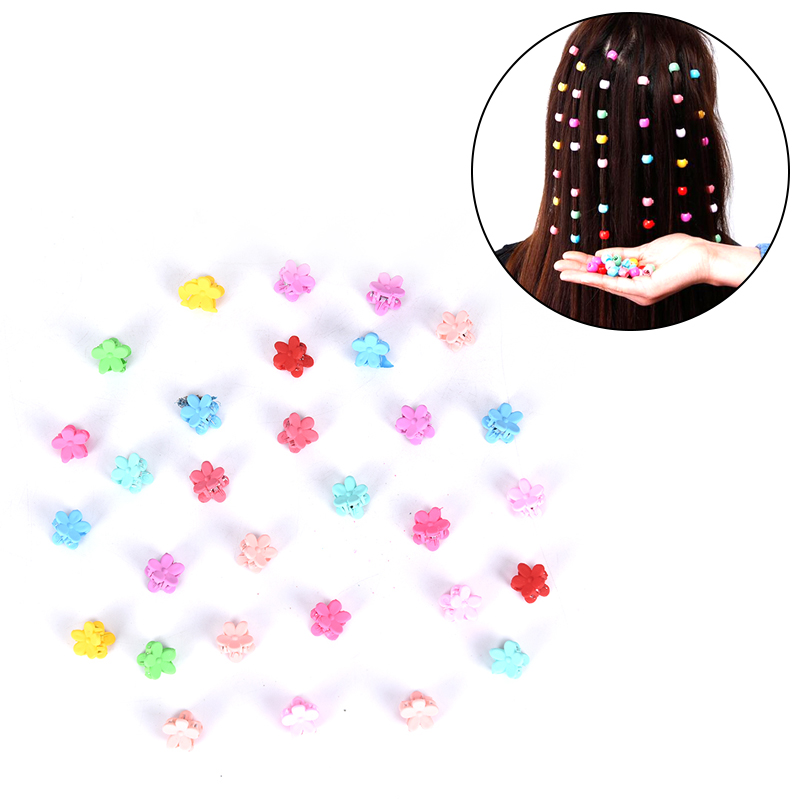 30pcs/100pcs Hairclips/set Fashion Baby Girls Small Hair Claw Cute Candy Color Flower Blossoms Jaw Clip Children Hair Acc