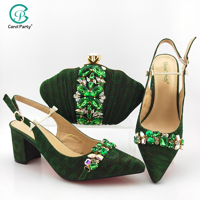 New Arrival Italian design Shoes with Matching Bags Set Decorated with Rhinestone Women Shoes and Bags for Party Wedding