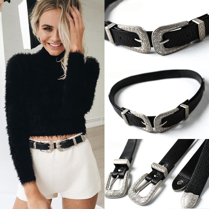Fashion Womens Belts Vintage Boho Metal Leather Double Buckles Waist Belt Waistband Ladies Belt