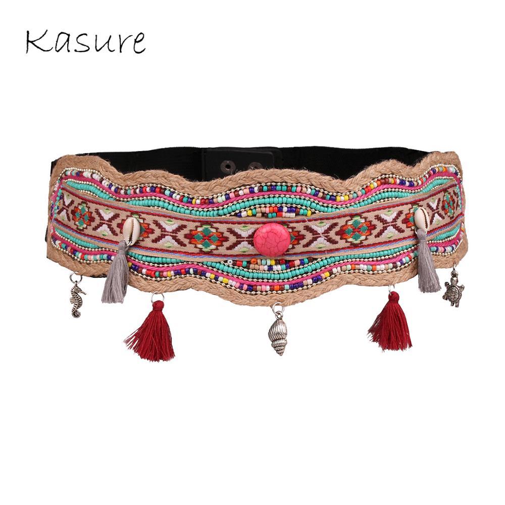 KASURE Fashion Woman Belt Nature Sea Shell Boho Waistbelts Beads Flower Vintage Wedding Waistband Bohemian Dress Decoration Belt