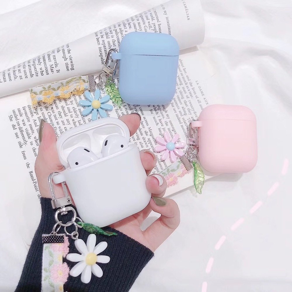 SFor Air Pods 1/2 For AirPods Pro Case Luxury Korean Flower Hanging Ornament Keyring Accessories Silicone Case Earphone Cover