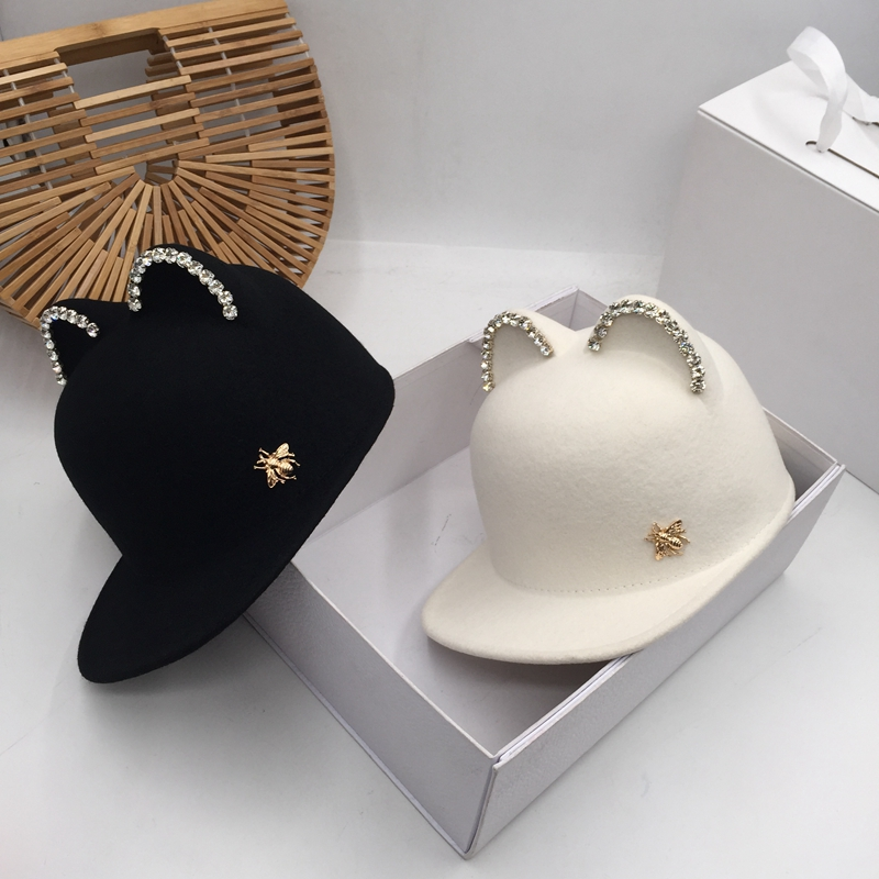 Wool Felt Hat Letters Bright Drill The Demon Cat Ear Equestrian Cap Hat Qiu Dong Three-dimensional Cap Children Visors
